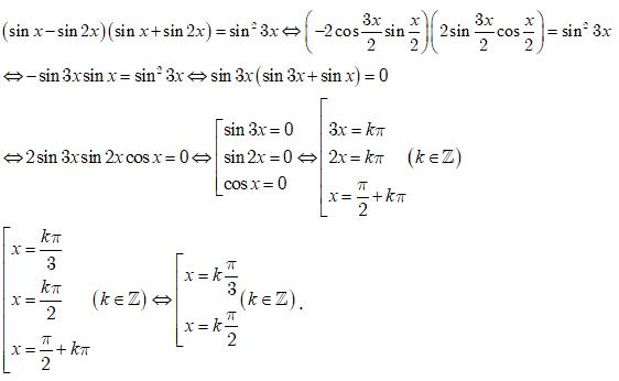 Phương trình: (sinx - sin2x)(sinx + sin2x) = sin^2 3x có ...